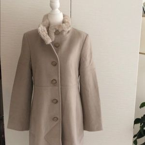 FSH camel/ tan wool coat w/ real rabbit fur